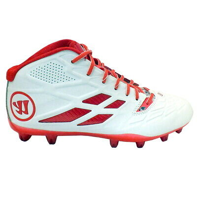 NEW Mens Warrior Lacrosse Burn 8.0 Mid Cleats White / Red Sz 12 M Ret: $79.99
