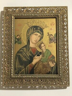 Greek Antique Icon Mother & Chiild Print Gold Plated Metal Frame Curved Glass 19