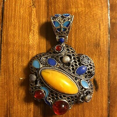 Antique Style Cloisonné Chinese Pendant Stone Jewelry Asian Silver Tone Emperor