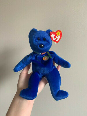 Rare Blue Ty Beanie Baby Clubby With Errors - Kr Market Red Star On Tush Tag
