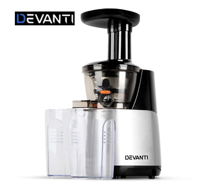 Devanti Cold Press Slow Juicer Mixer Fruit Vegetable Processor Extractor Silver