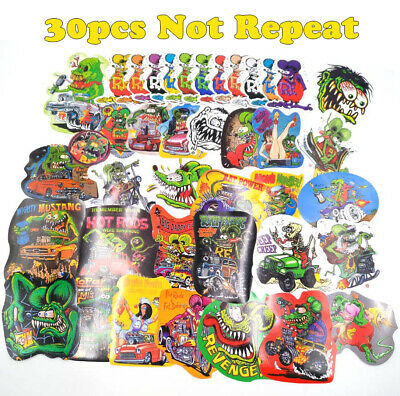 30pcs Random Ed Roth Bicycle Vinyl Decal Graffiti Hot Rods Rat Fink Stickers