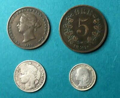 4 pcs 1871 to 1897 Old Europe Coins Norway, France, etc. Some Silver Lot 1P-90