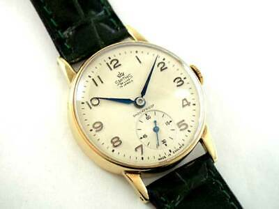 Smiths Deluxe 9K Gold Blue Hands Small Second 1950's Vintage Hand winding Watch