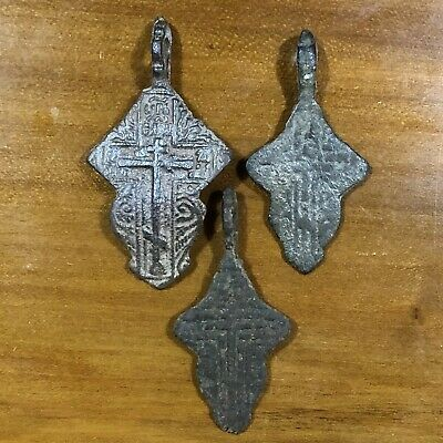 3 Medieval Cross Pendants Golgotha Russia Christian Jesus Artifact Orthodox Old
