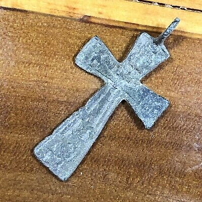 Pre 1750's Byzantine Cross Artifact Medieval Europe Orthodox Skull & Crossbones