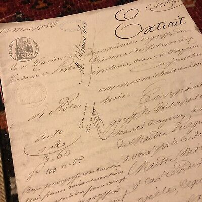 RARE Antique 1800's French Document 8 Pages Paper Legal Sealed European Old