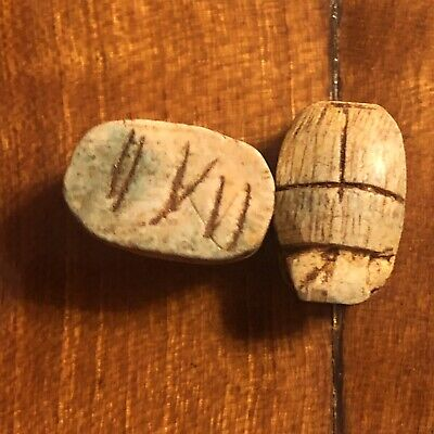 Ancient Egypt Fieance Clay Scarab Beads Bug 200 BC Souvenir Appraised $100.00