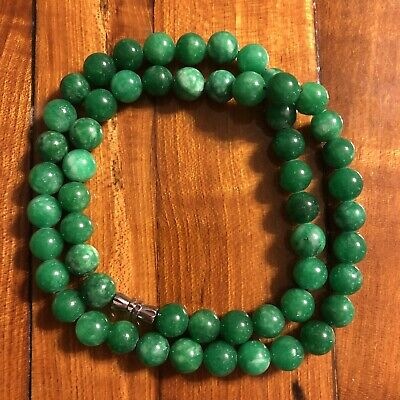 NEW Chinese Green Bead Necklace Asian Jade Style Stone Jewelry Beautiful Gem!