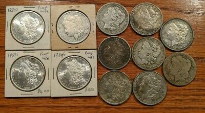 Lot of 12 Morgan or Liberty Head Silver Dollars Some Uncirculated. 1878 - 1899