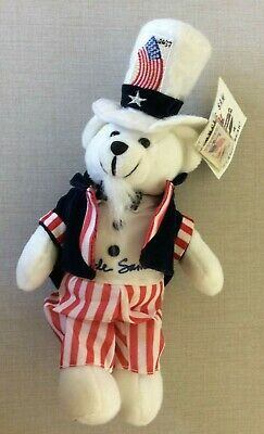 Uncle Sam Stamp Bear 2003 USPS Collectible NWT & Stamp Patriotic Red White Blue!