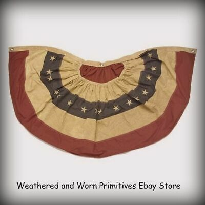 """Primitive Country 30"""" Aged Fabric Patriotic Americana Bunting - Embroidered Star"""