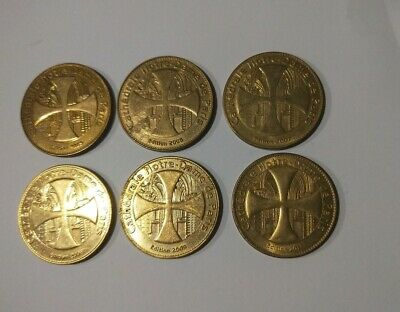 Lot of 6 Notre Dame Cathedral large brass coloured tokens Monnaie de Paris