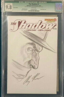 ALEX ROSS signed ORIGINAL Sketch Art CGC 9.8 THE SHADOW
