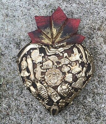 """HEARTS - Mexican Milagro Heart - Hand Crafted Wood Folk Art Heart 6.50"""""""