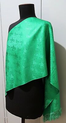 *41 X 136cm Oblong Vintage Green Embossed Silk Evening Scarf