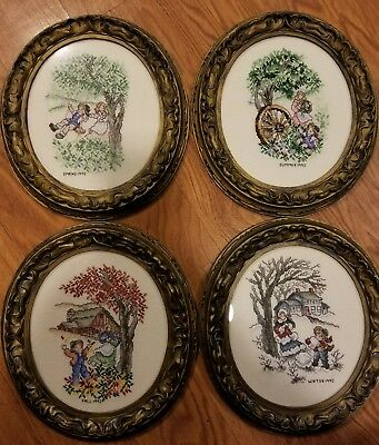 vintage 1992 cross stitch wall art decoration  pictures 4 SEASONS with frames