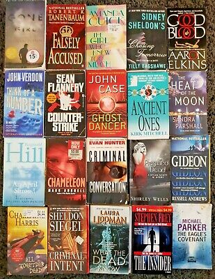Large Bulk Book Lot Of 20 Paperback Mystery Thriller Action Suspense Mix All Dif