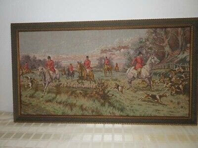 Vintage Fox Hunt Equestrian Horse and Dog Framed Tapestry Wall