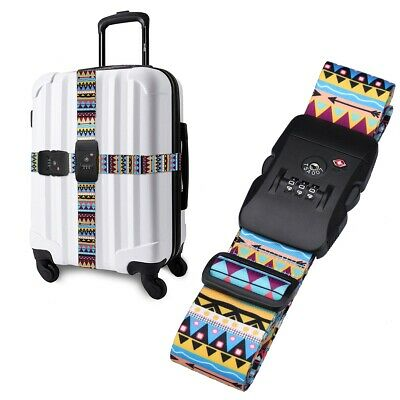 TSA Suitcase Cross Luggage Strap Belt Baggage Secure Travel 3 Dial Safe Lock