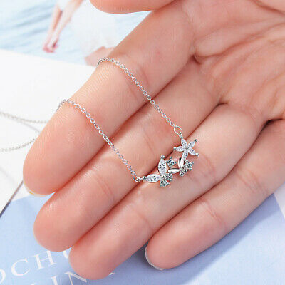 Top Quality Crystal Zircon Butterfly Flower Pendant Women Clavicle Necklace Gift