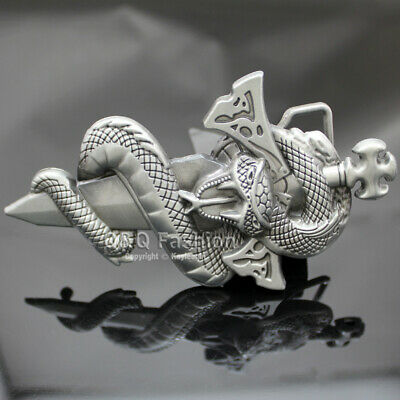 Men Egyptian Vintage Silver 3D Snake Viper Cobra Python Dagger Sword Belt Buckle
