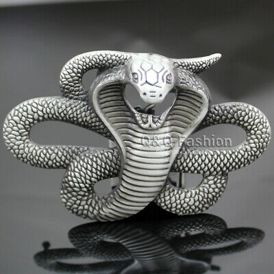 Men Vintage Silver Egyptian 3D Snake Viper Cobra Python Belt Buckle Biker Rocker