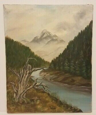 "Vintage Painting - Mountain and River Scene - Oil on Canvas 20""T x 17""W Unsigned"