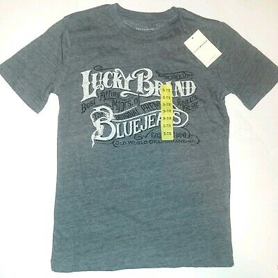 NWT Size 7/8 Lucky Brand Youth Boys Steel Grey Heather Graphic T-shirt Gray Tee