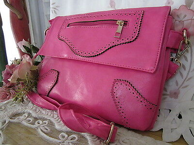 Hot Pink Magenta Faux Leather Shoulder / Cross Body purse / Clutch - Excellent!