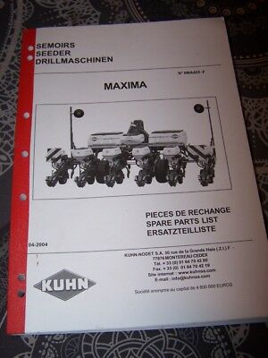 60 Catalogue piece rechange Spare parts list Semoirs Seeder MAXIMA KUHN