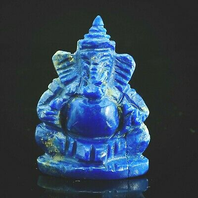 Antique Natural Natural Top Grade Royal Blue LAPIS Carved Lord Ganesh statue Big