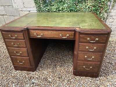 Edwardian Very Big Mahogany Pedestal Desk Green Leather Top . Delivery Available