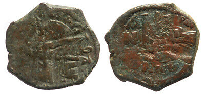 Byzantine Heraclius and Heraclius Constantine AE Follis Double overstruck