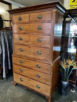 Georgian Antique Solid Mahogany Chest On Chest . Delivery Available