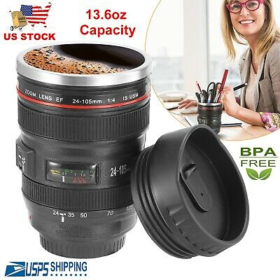 Stainless Steel Camera Lens Cup 24-105 Coffee Travel Mug Thermos Leak-Proof Lid