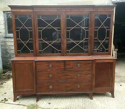 Antique Mahogany Breakfront Bookcase