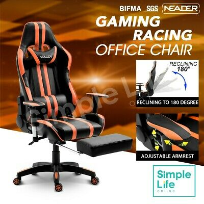 XL Size Ergonomic Office Chair Gaming Racing Recliner Chair Footrest PU Leather