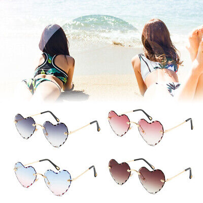 Women Rimless Love Heart Shaped Sunglasses Chic Metal Wave Frame Gradient Lens