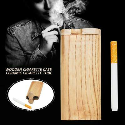 Wood Dugout One Hitter Exotic Wood Slide Top Cigarette Case Holder K0U2