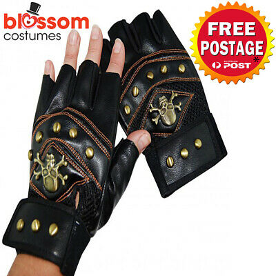 AS231 Steampunk Gloves with Studs & Crossbones Pirate Gothic Costume Accessories