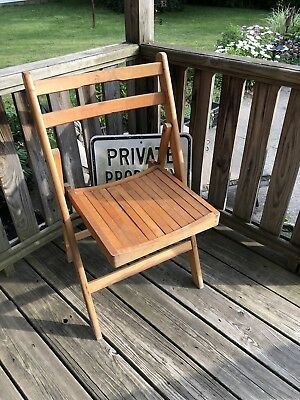 Vintage Oak wooden slot Folding  Dining Chair - FREE SHIPPING!