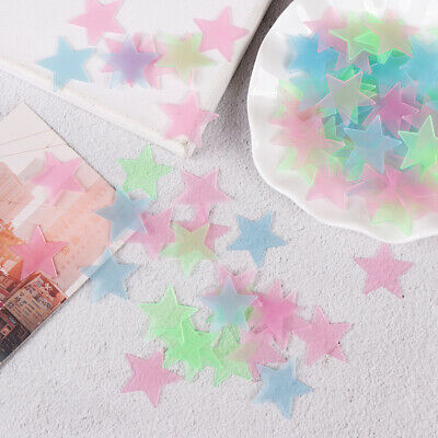 100Pcs 3D stars glow in dark luminous fluorescent plastic wall sticker home HQ
