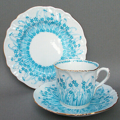 WILEMAN FOLEY CHINA 'GRASS PRINT' FOLEY SHAPE TRIO IN TURQUOISE COLOURWAY (a/f)