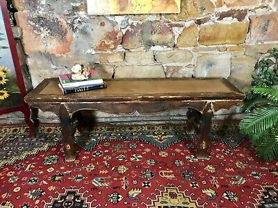 Fine Antique Chinese Provincial Bench~Chair~Handmade~Rattan~Flat Screen Table