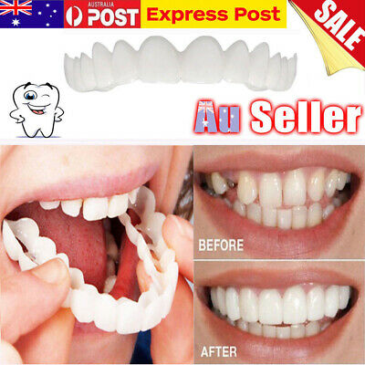 AU Snap On Teeth Secure Smile Instant Natural Upper Veneers Dental False Flex