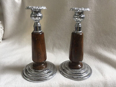 VINTAGE 1960s Pair of Wooden & Stainless Steel Candlesticks
