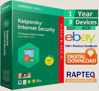Kaspersky Internet Security 2019 3 Device 1 year (PC/Mac/Android) UK VAT EMAILED