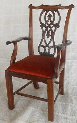 Amazing Miniature Carved Mahogany Chippindale Chair 9 3/4'' tall