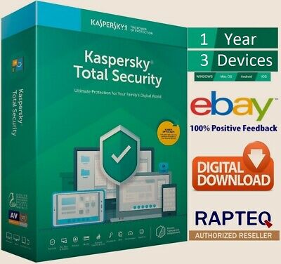 Kaspersky Total Security 2019 3 Devices 1 year PC/Mac/Android UK VAT EMAILED